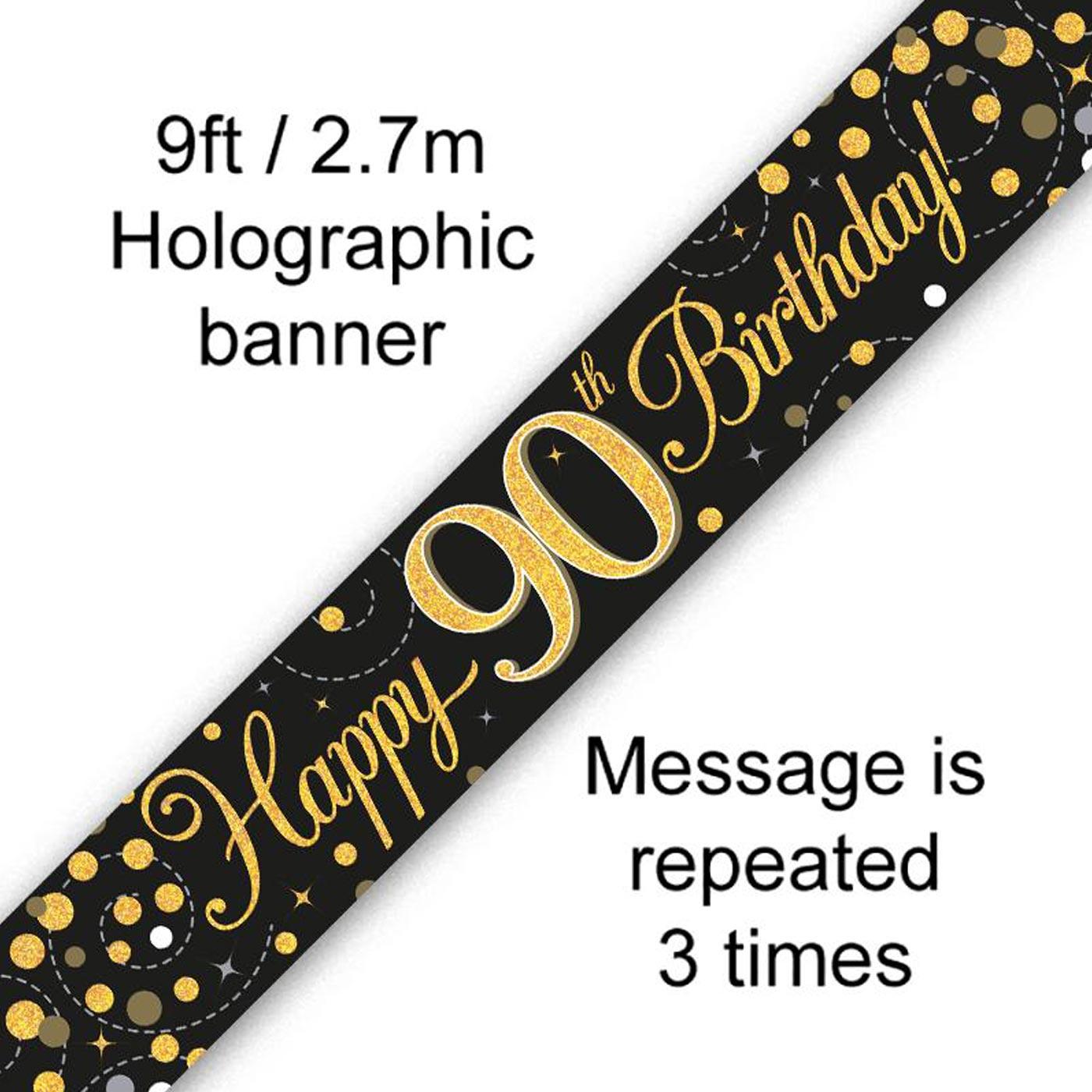 Black Gold Fizz 90th Birthday Banner