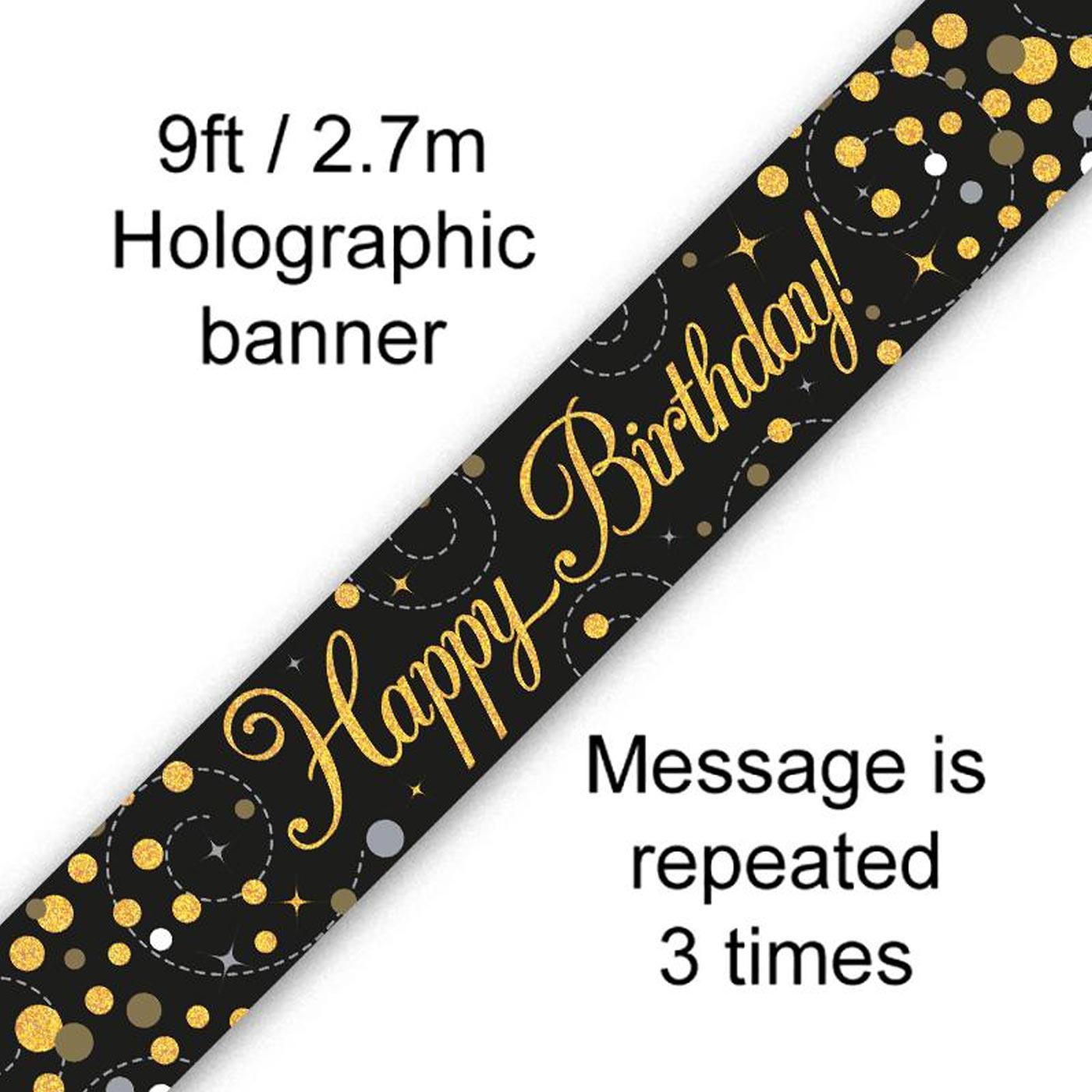 Black Gold Fizz Happy Birthday Banner