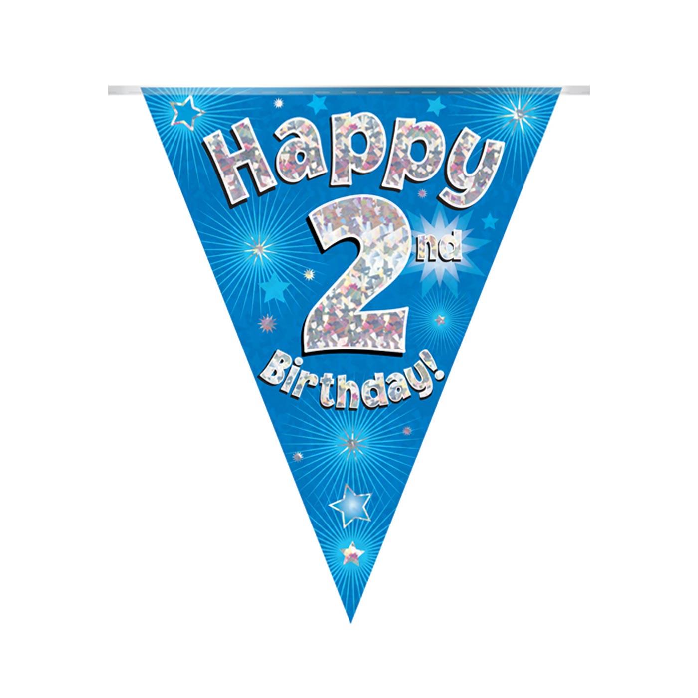 Blue Bunting Happy 2nd Birthday