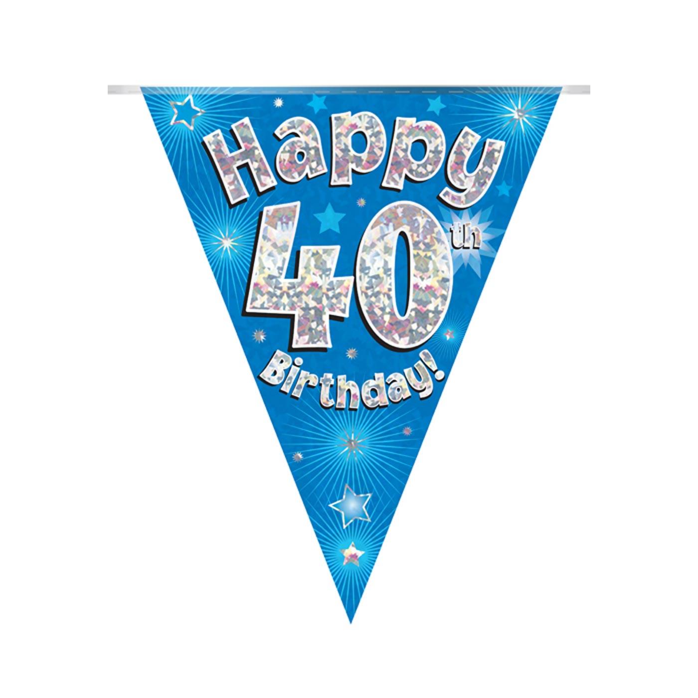 Blue Bunting Happy 40th Birthday