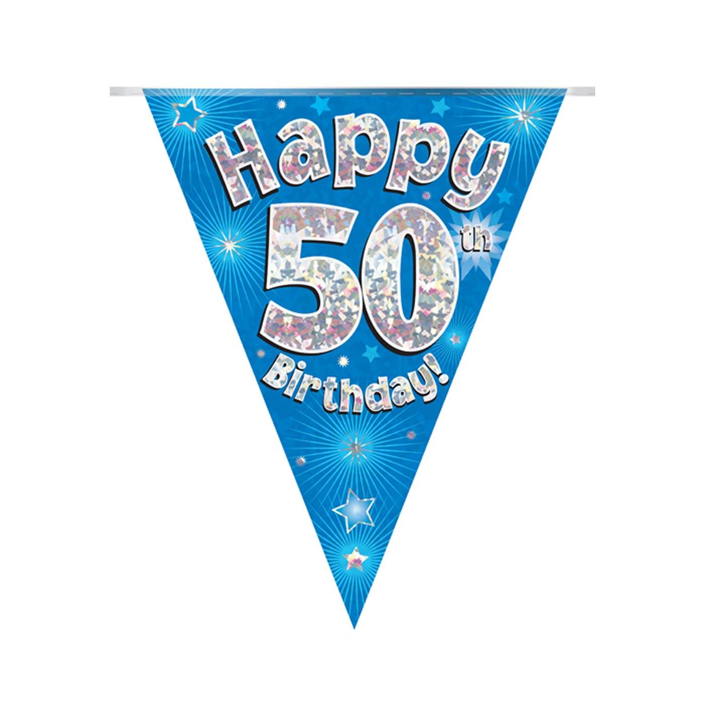 Blue Bunting Happy 50th Birthday