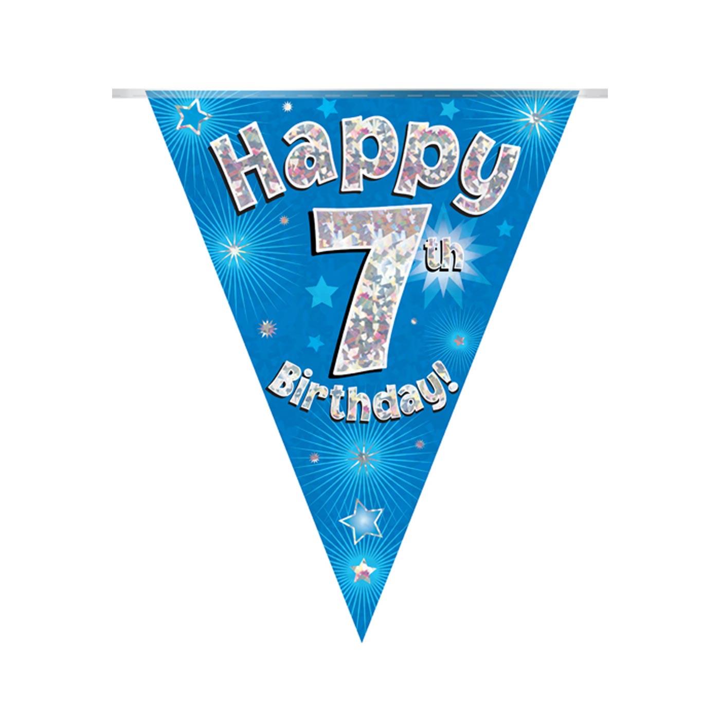 Blue Bunting Happy 7th Birthday