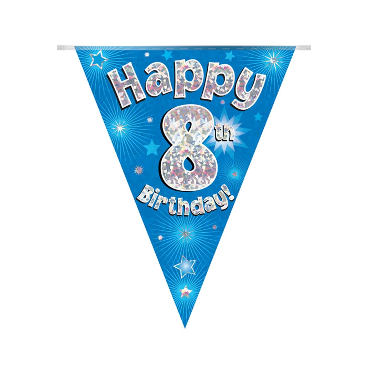 Blue Bunting Happy 8th Birthday
