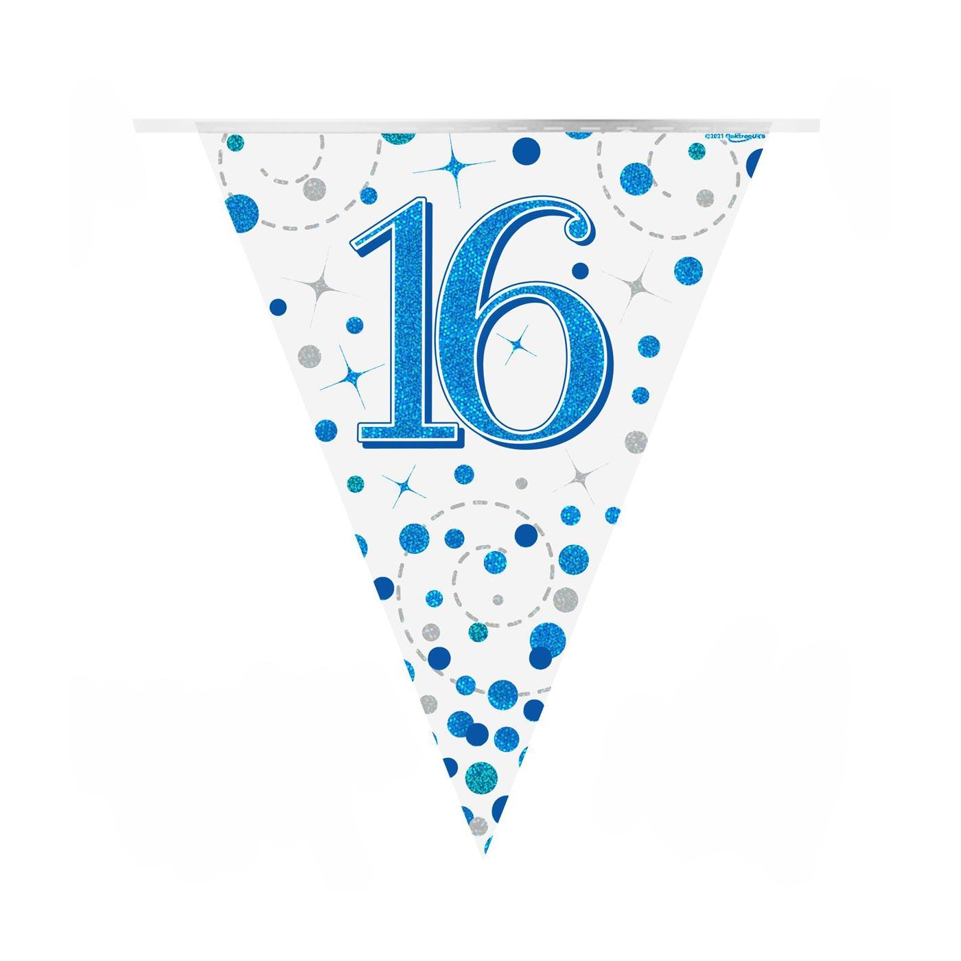 Blue Fizz Bunting Happy 16th Birthday