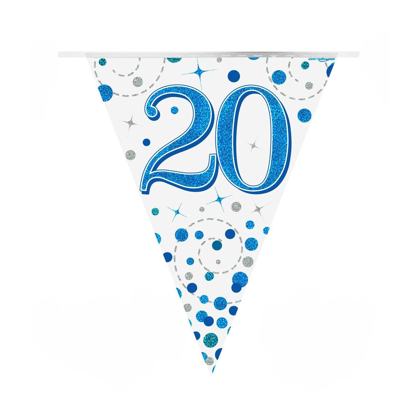 Blue Fizz Bunting Happy 20th Birthday