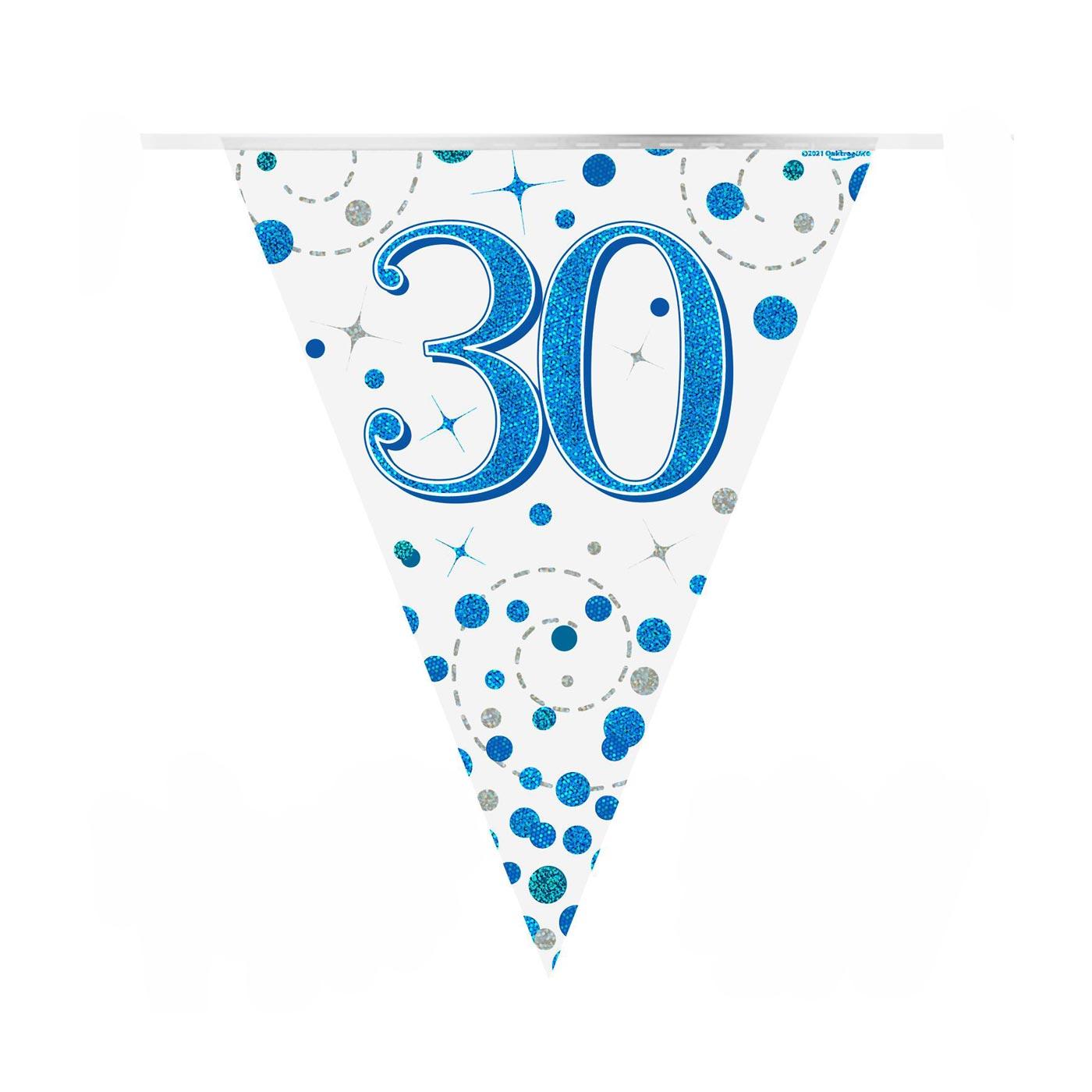 Blue Fizz Bunting Happy 30th Birthday
