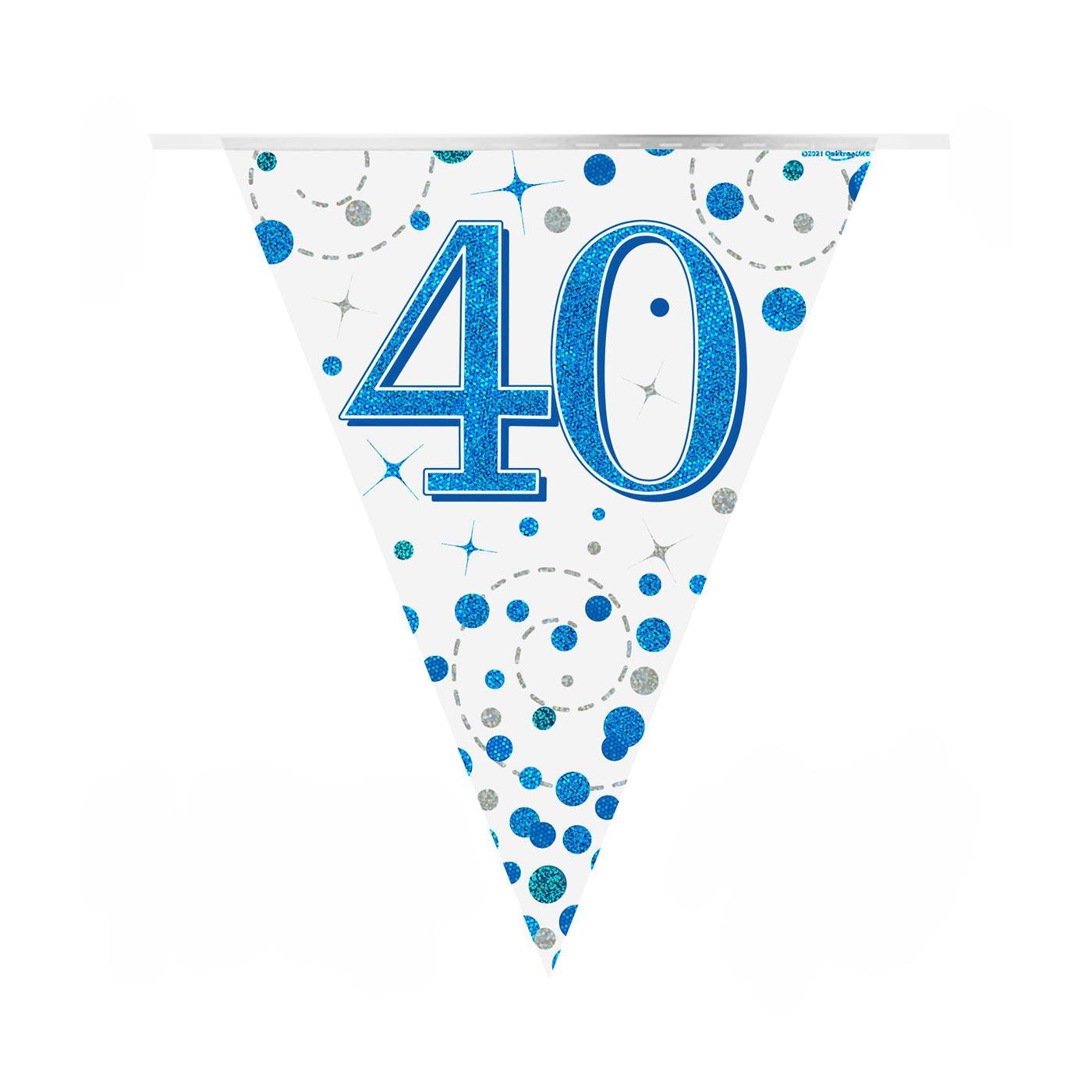 Blue Fizz Bunting Happy 40th Birthday