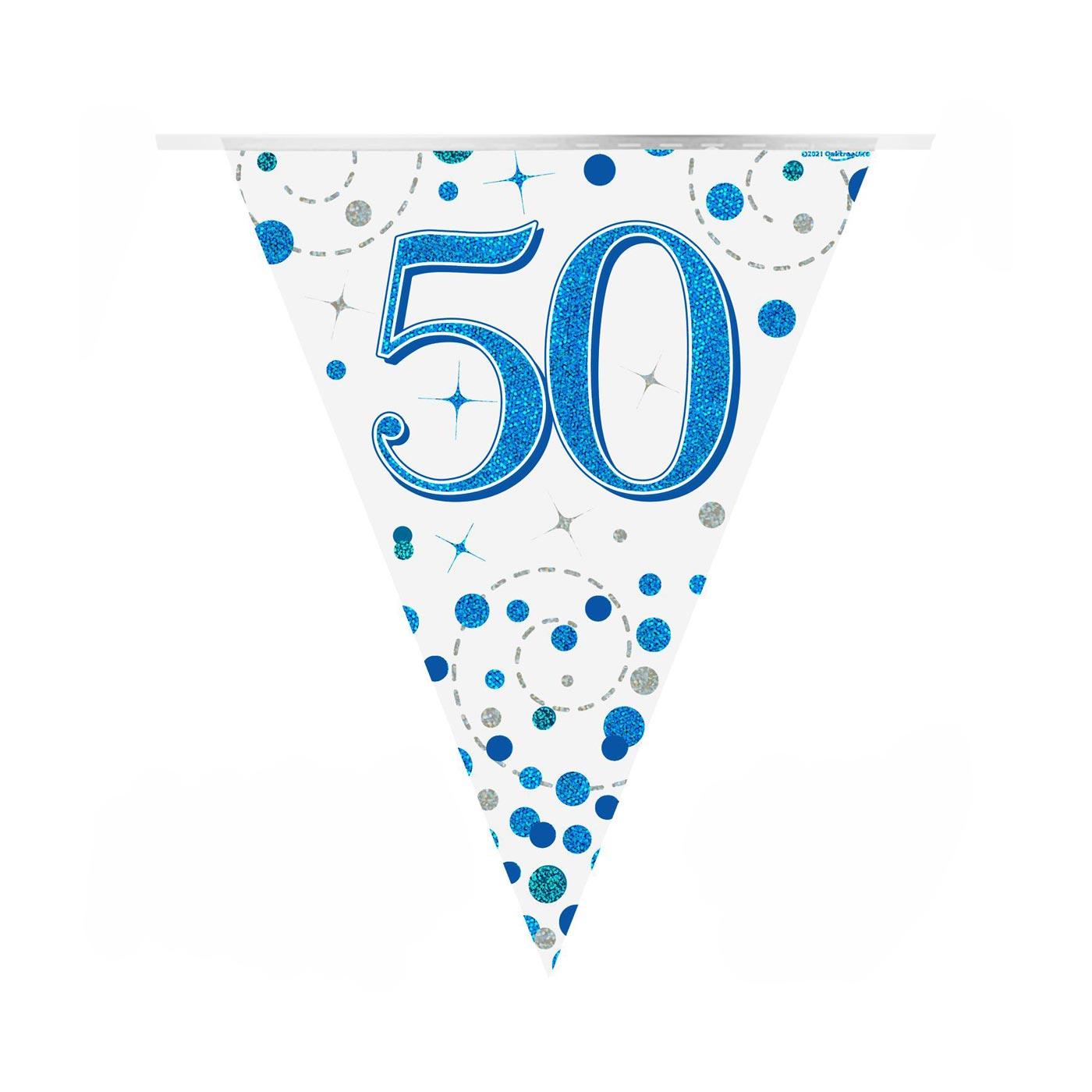 Blue Fizz Bunting Happy 50th Birthday