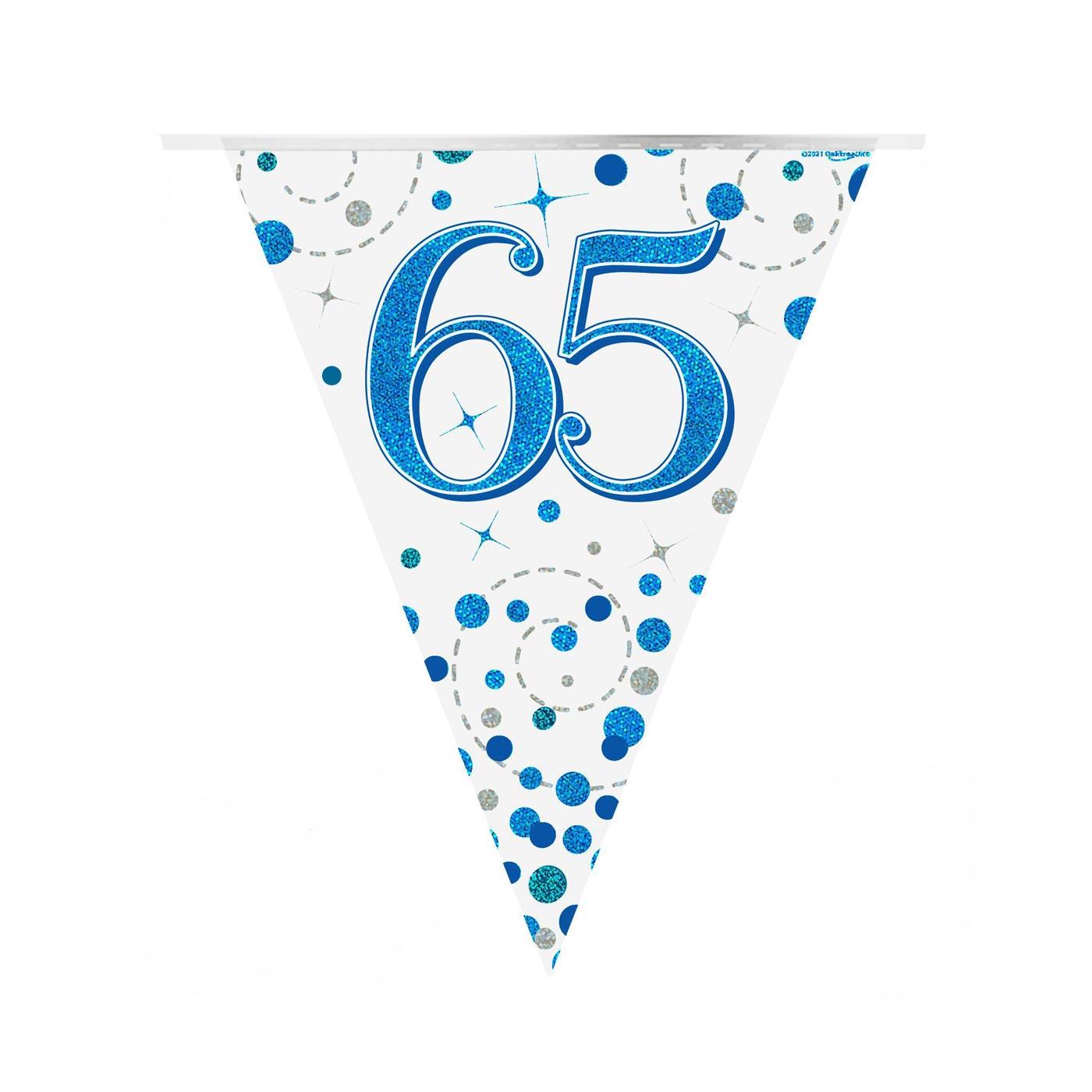 Blue Fizz Bunting Happy 65th Birthday