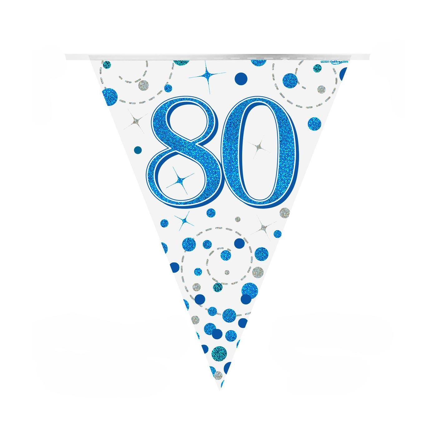 Blue Fizz Bunting Happy 80th Birthday