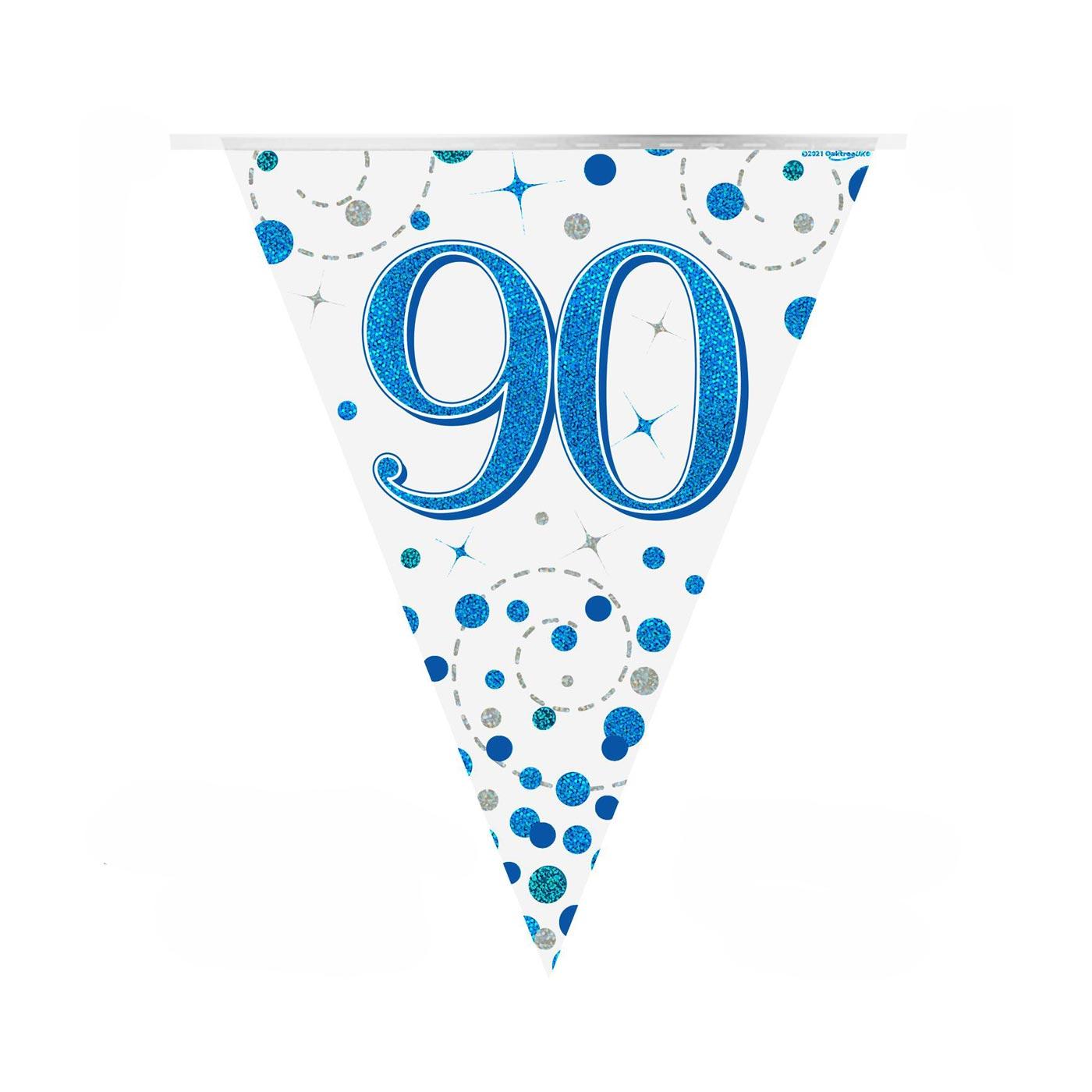 Blue Fizz Bunting Happy 90th Birthday