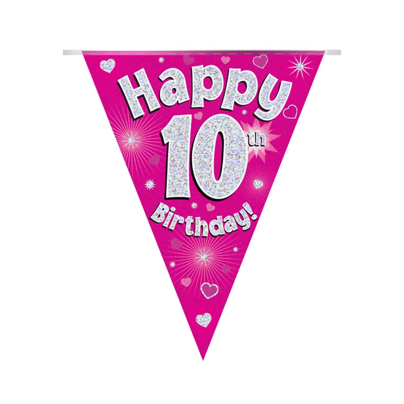 Pink Bunting Happy 10th Birthday