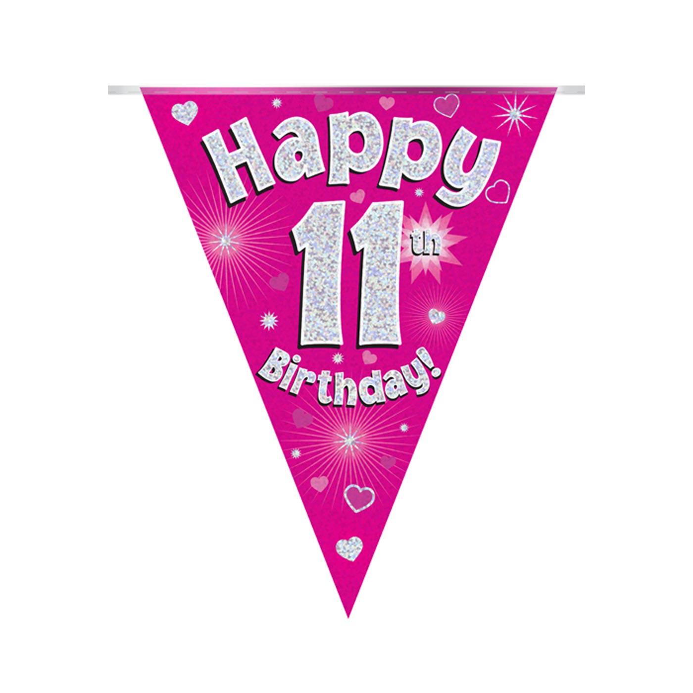 Pink Bunting Happy 11th Birthday