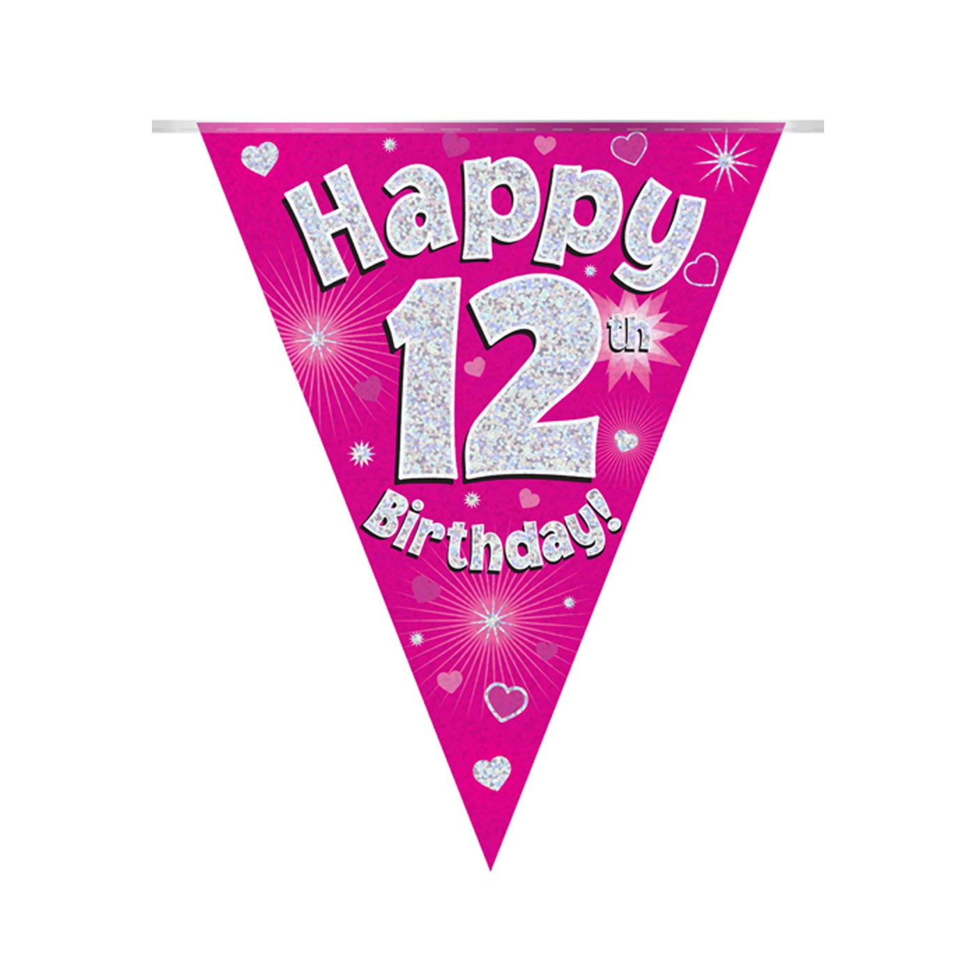 Pink Bunting Happy 12th Birthday
