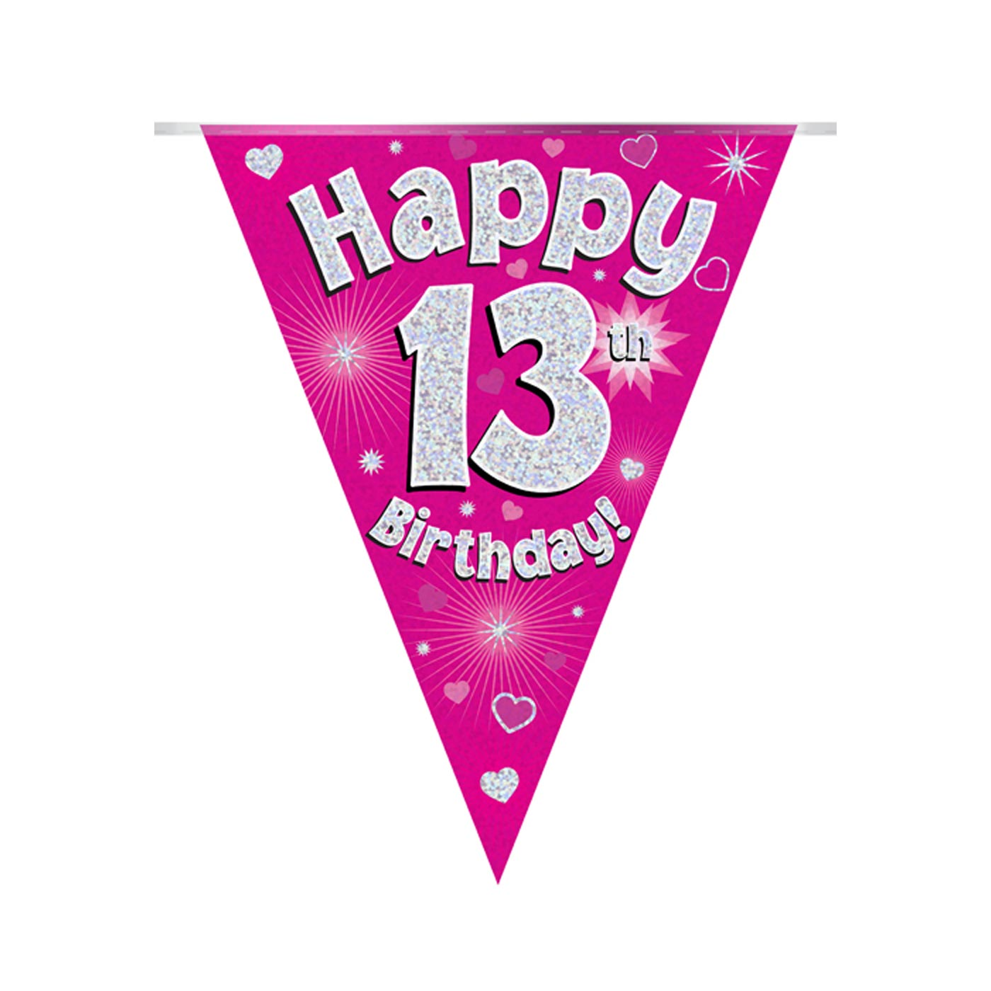 Pink Bunting Happy 13th Birthday