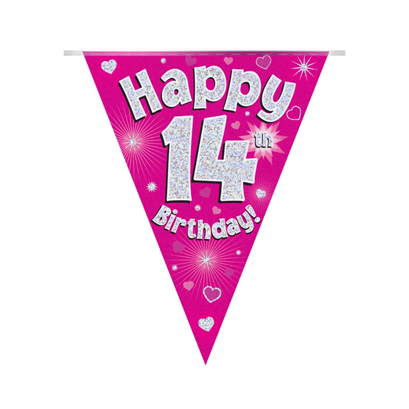 Pink Bunting Happy 14th Birthday