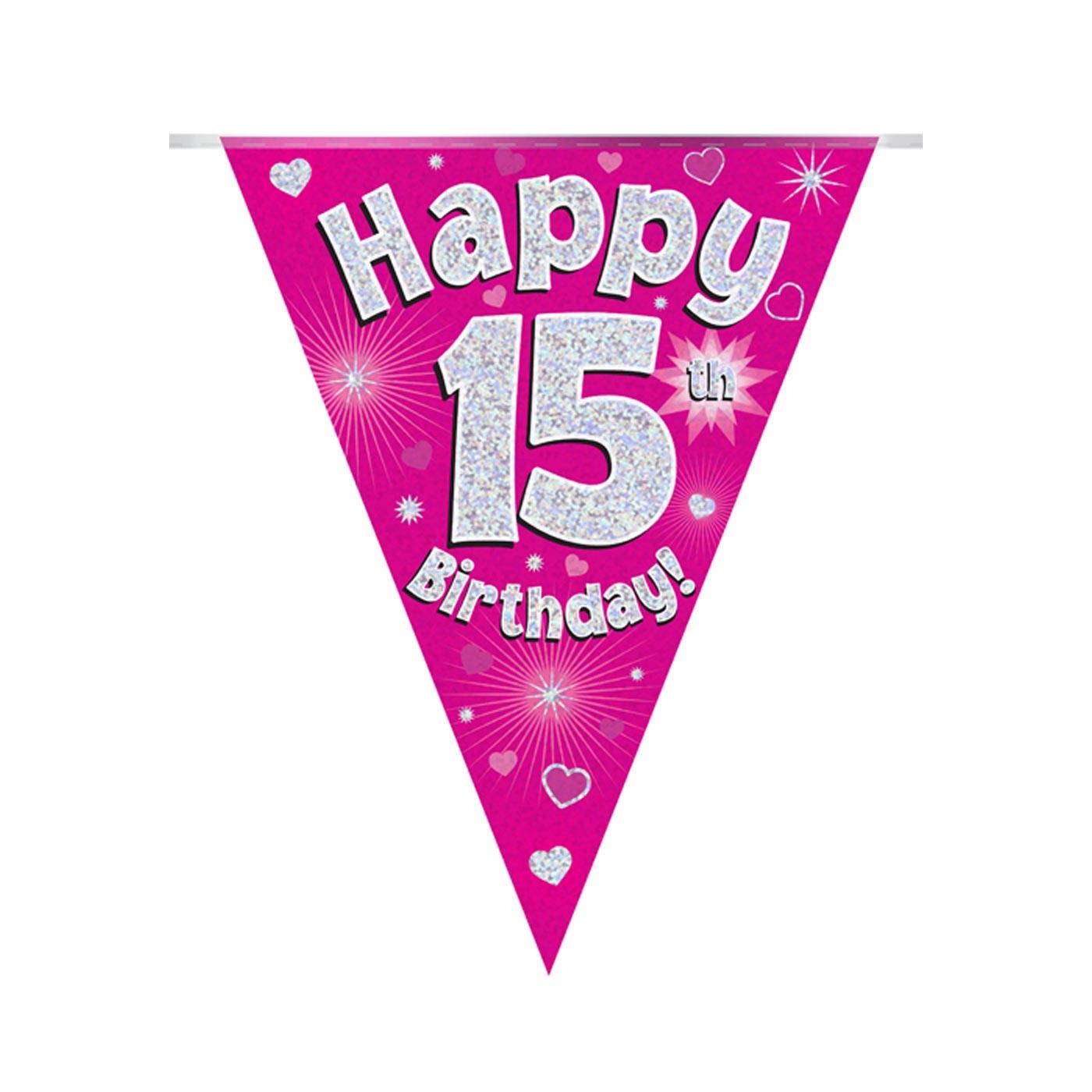 Pink Bunting Happy 15th Birthday