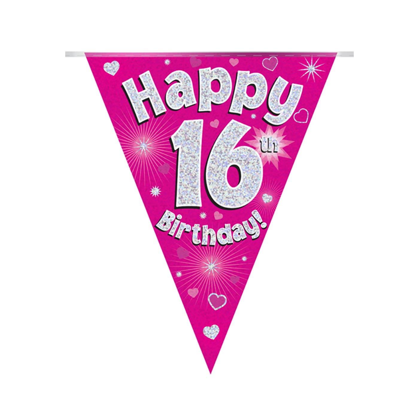 Pink Bunting Happy 16th Birthday