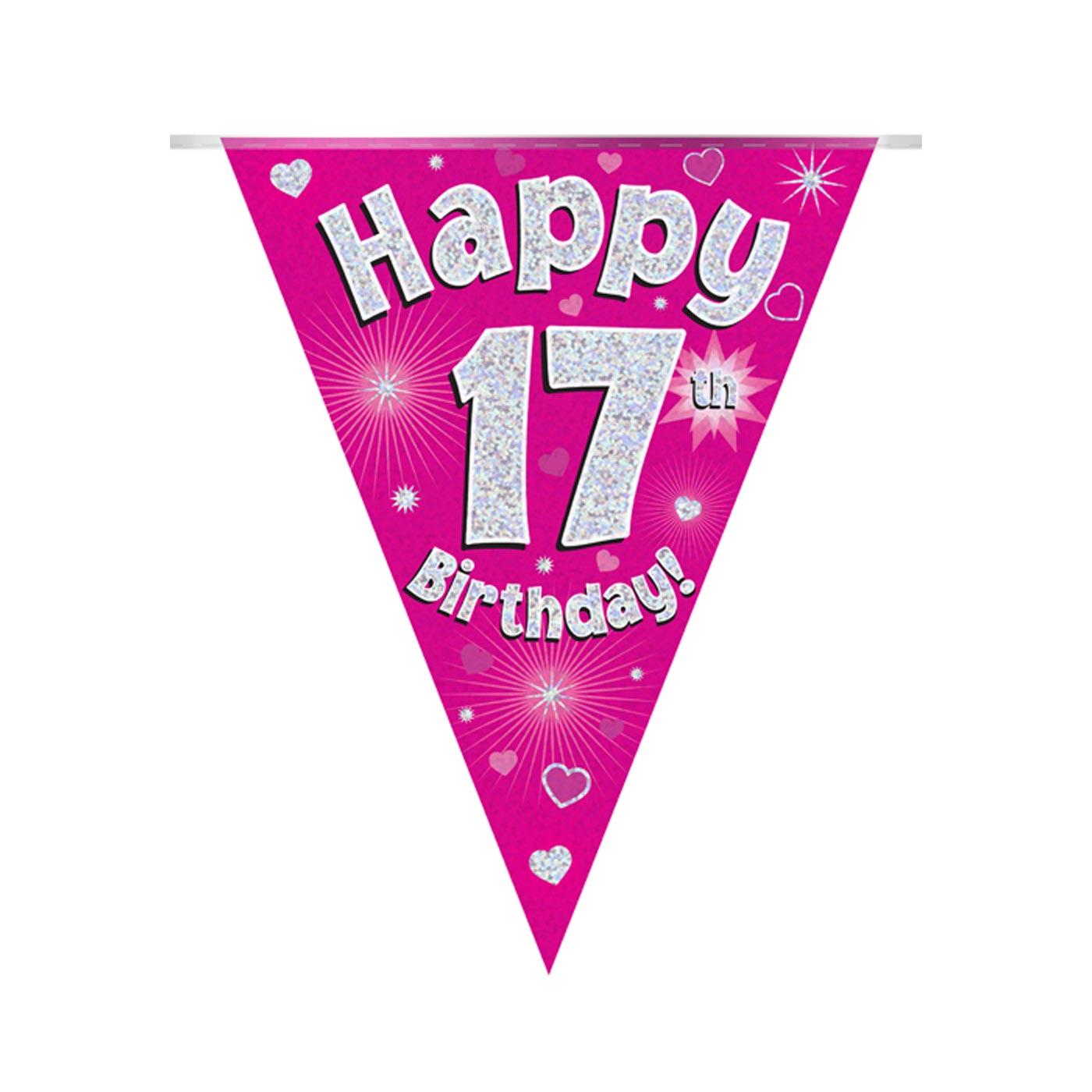 Pink Bunting Happy 17th Birthday