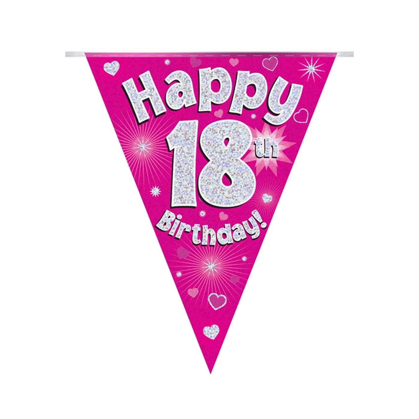 Pink Bunting Happy 18th Birthday