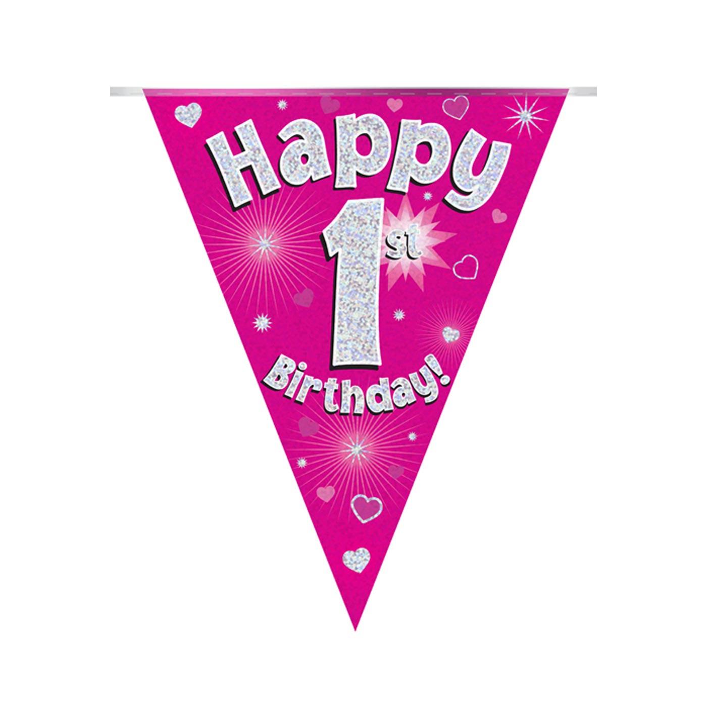 Pink Bunting Happy 1st Birthday