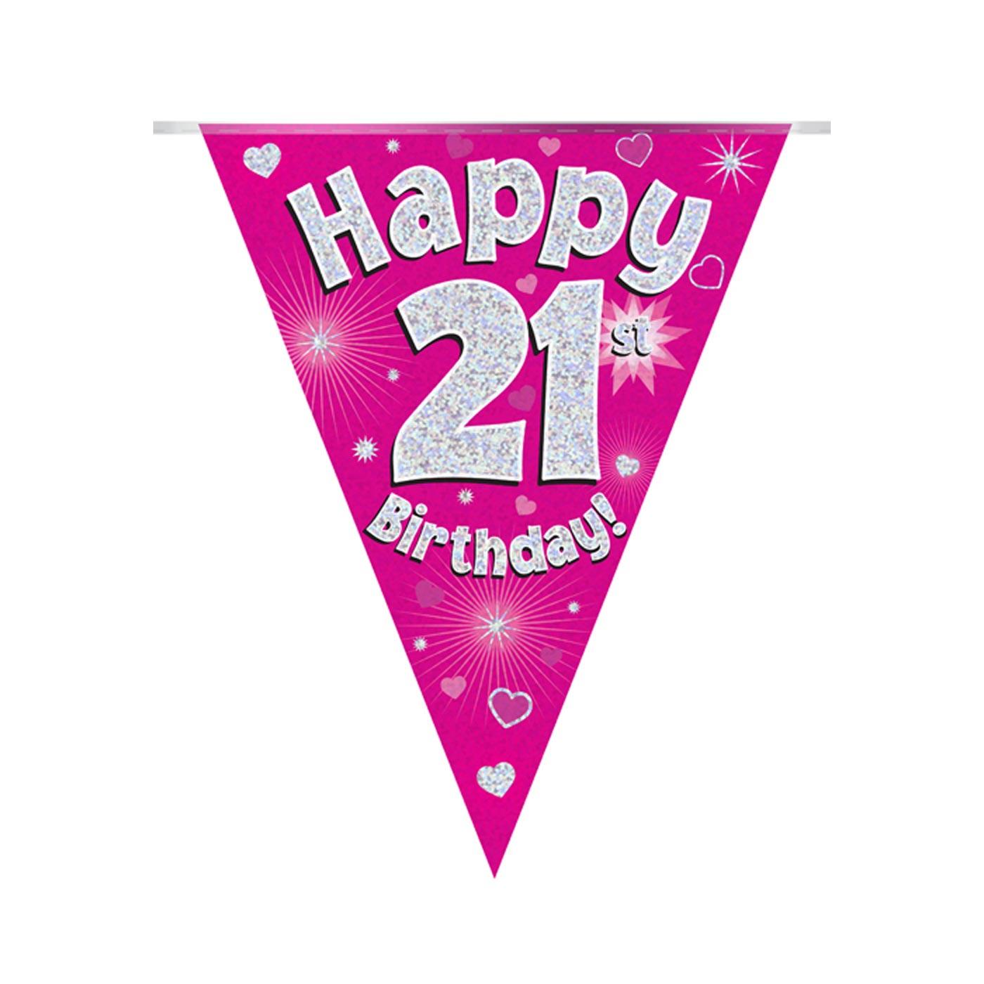 Pink Bunting Happy 21st Birthday