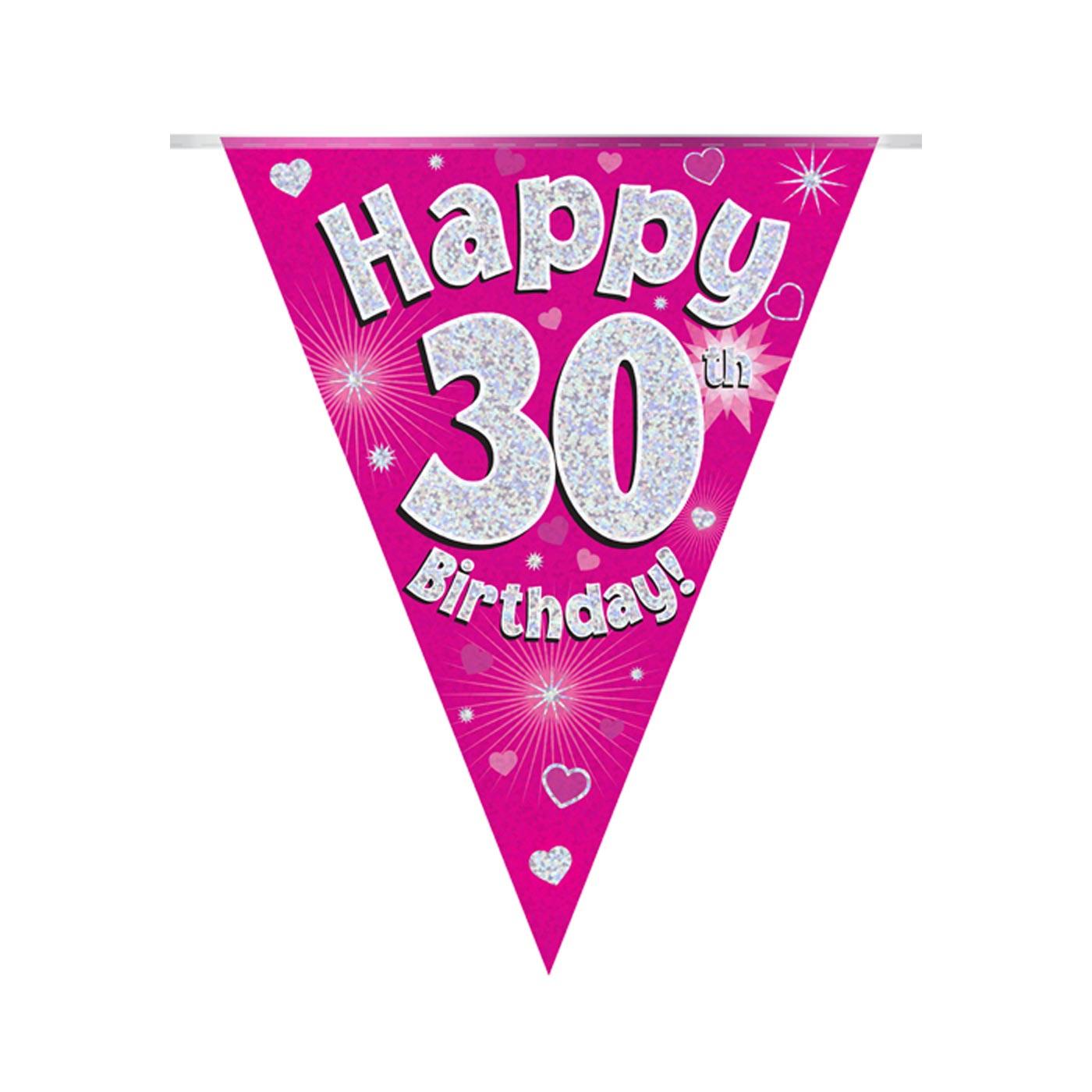 Pink Bunting Happy 30th Birthday