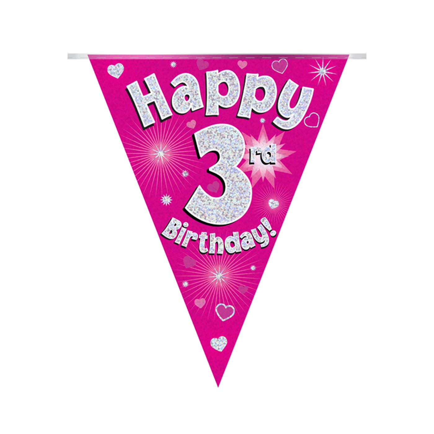 Pink Bunting Happy 3rd Birthday