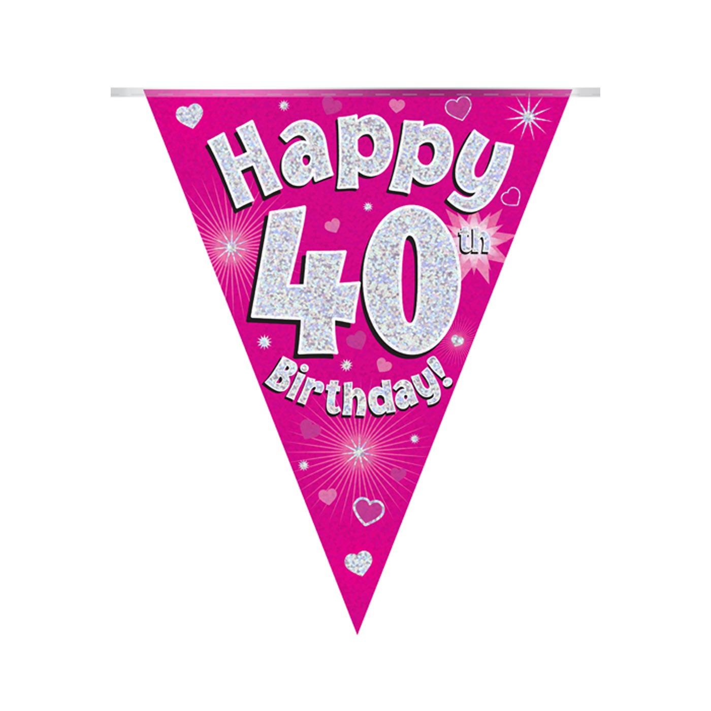Pink Bunting Happy 40th Birthday