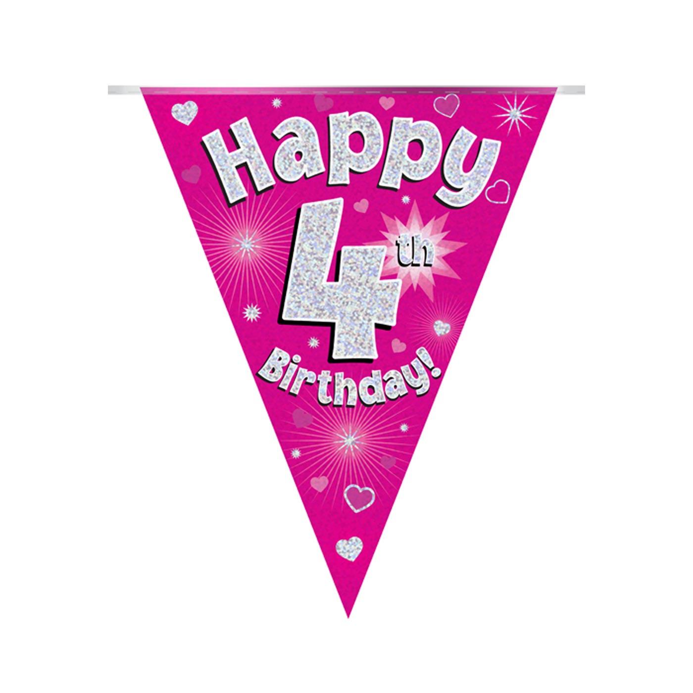 Pink Bunting Happy 4th Birthday