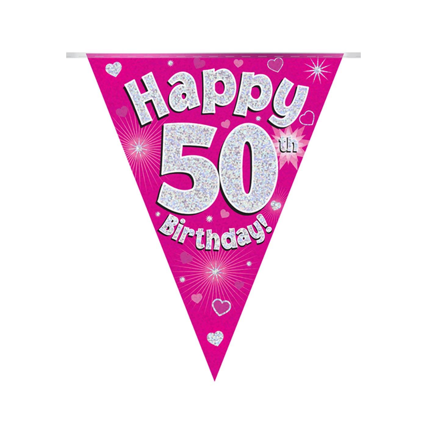 Pink Bunting Happy 50th Birthday