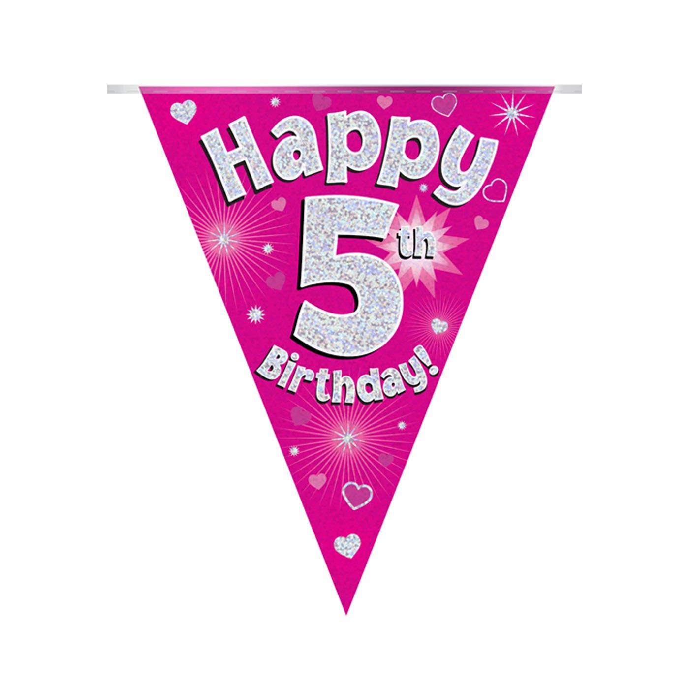Pink Bunting Happy 5th Birthday