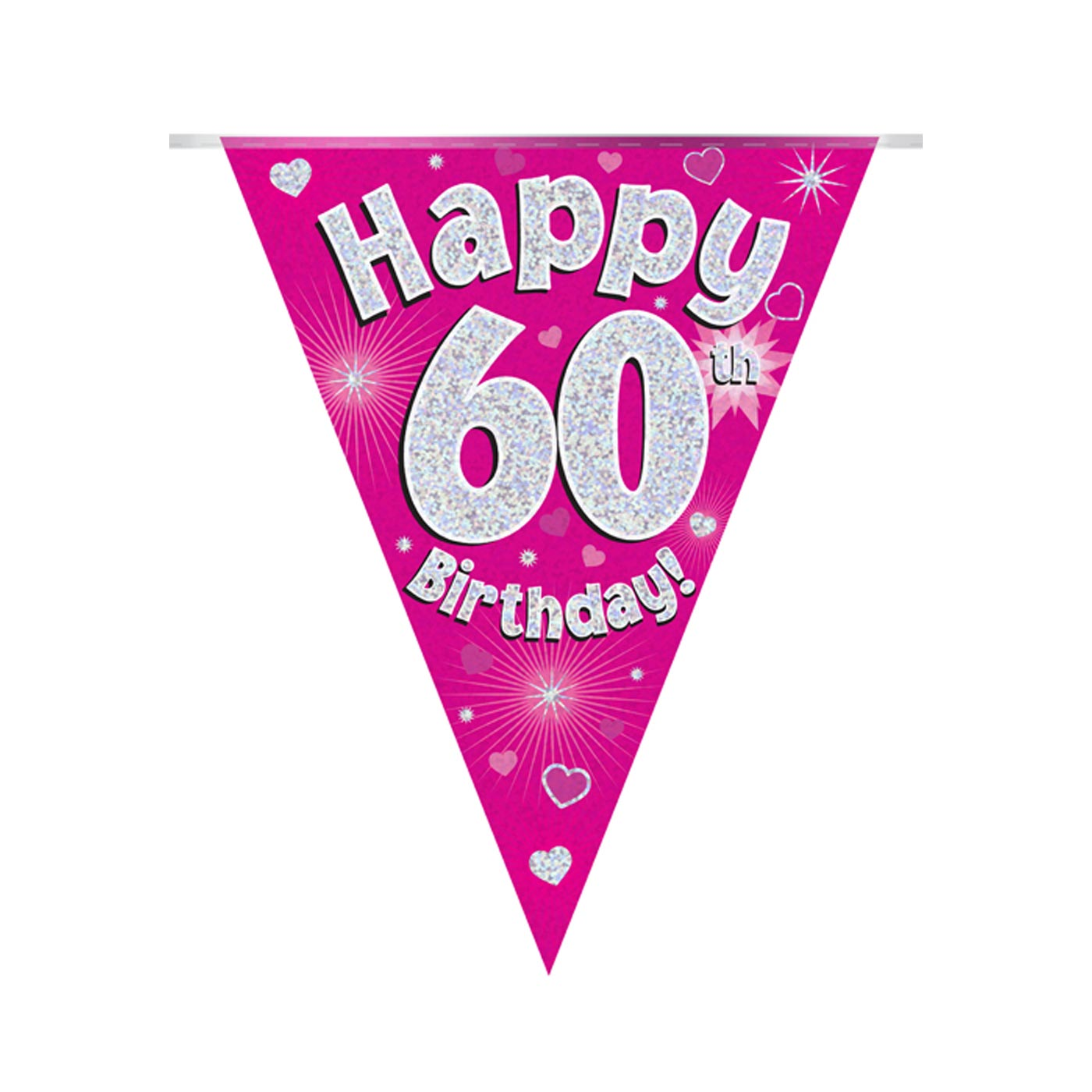 Pink Bunting Happy 60th Birthday