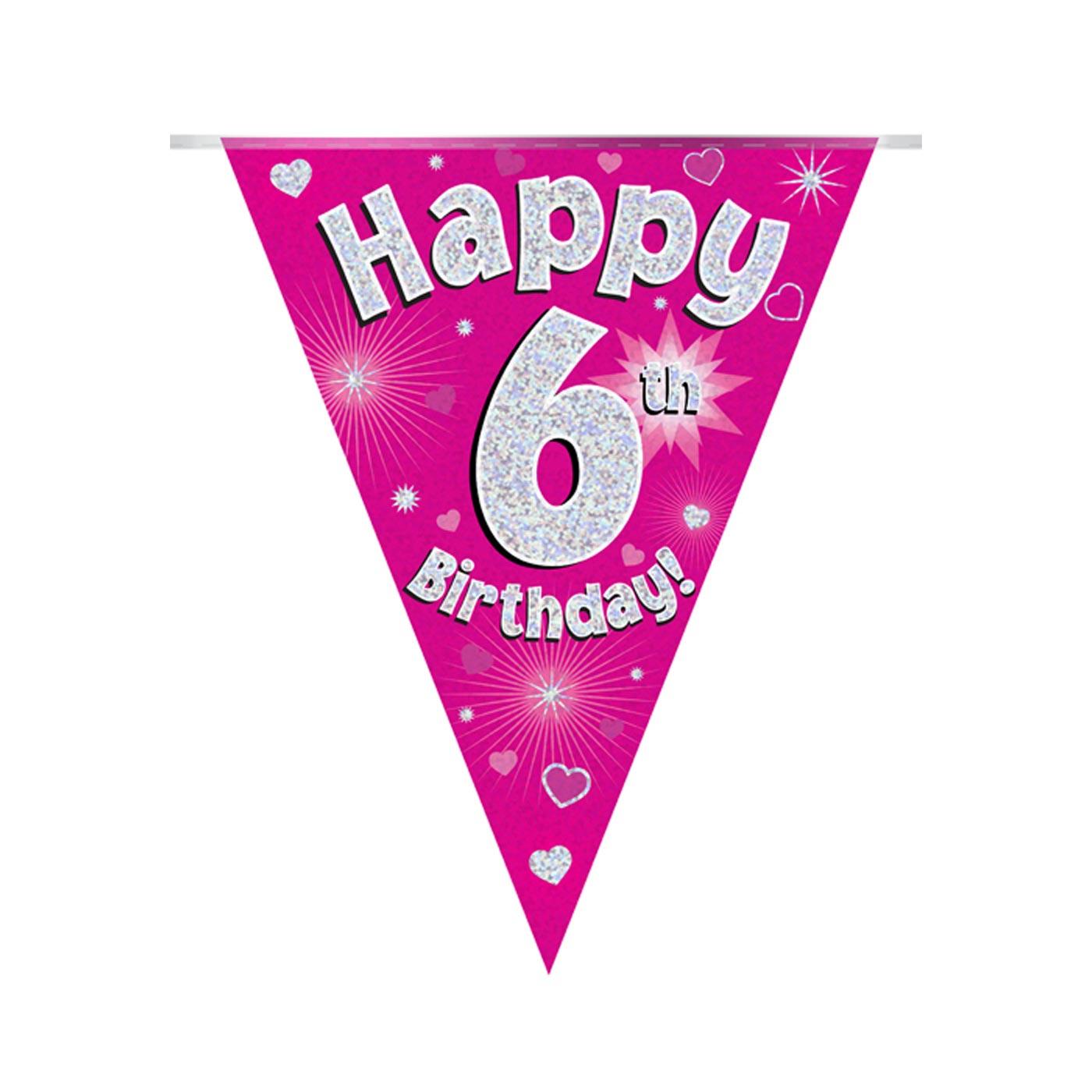 Pink Bunting Happy 6th Birthday