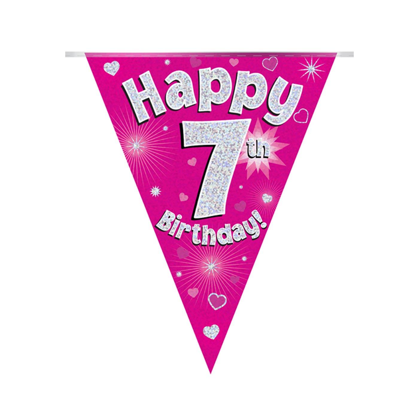 Pink Bunting Happy 7th Birthday