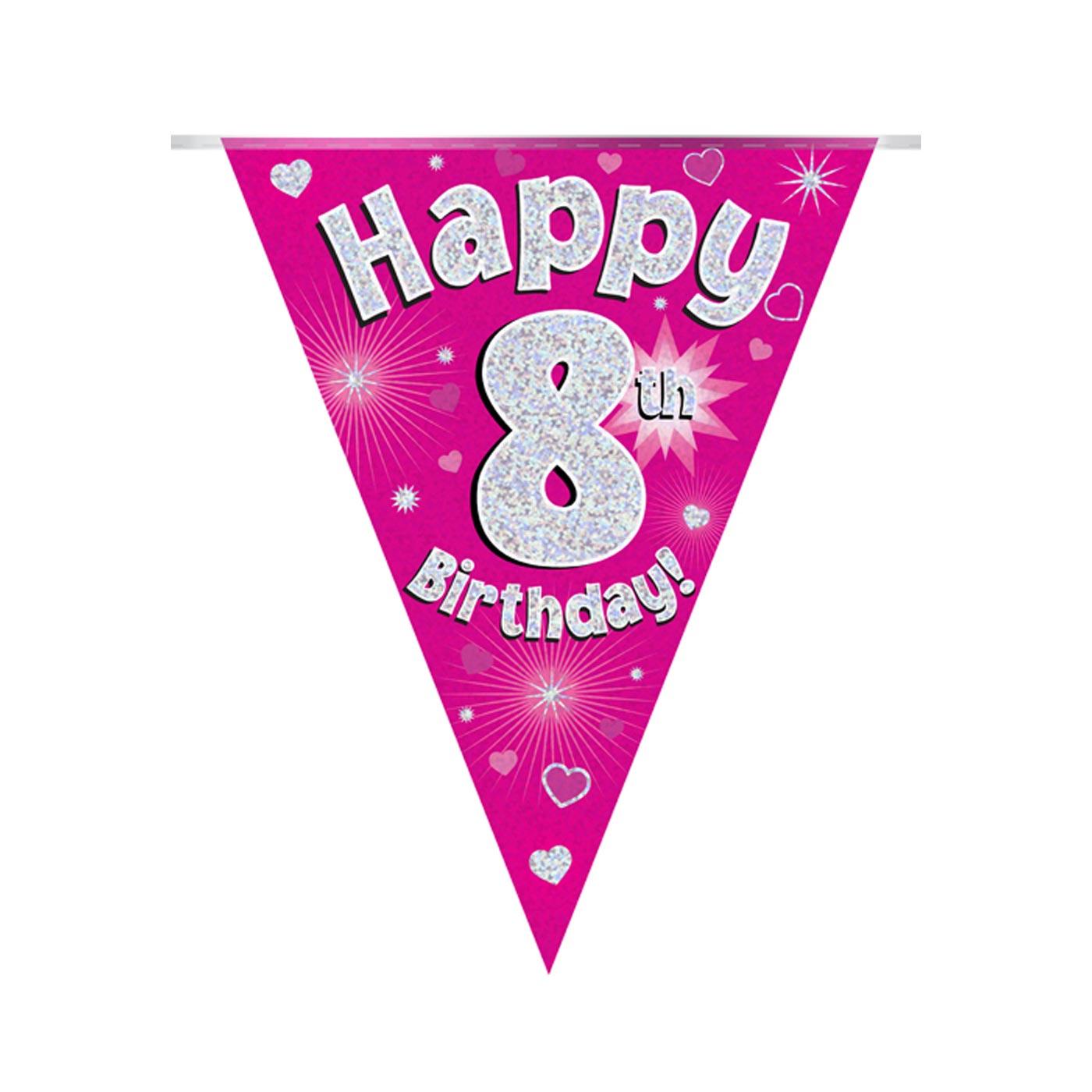 Pink Bunting Happy 8th Birthday