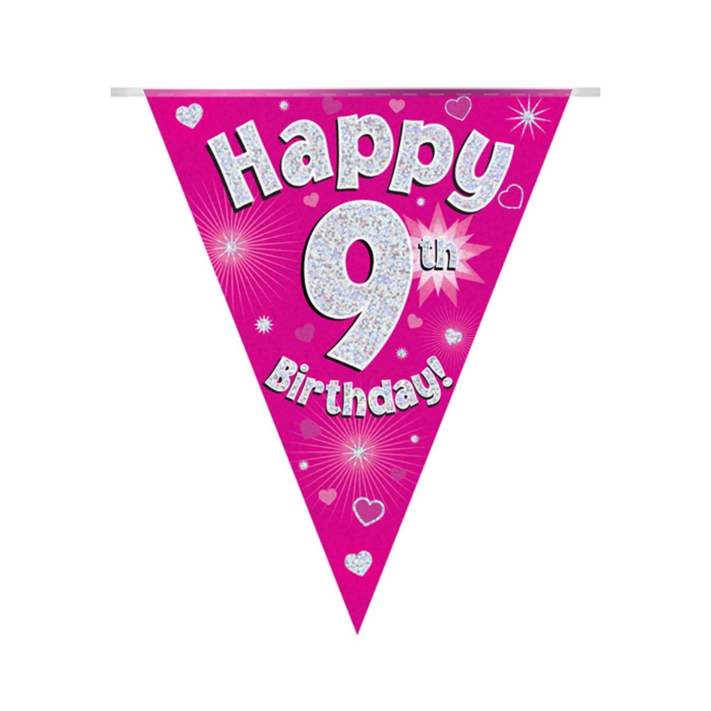 Pink Bunting Happy 9th Birthday