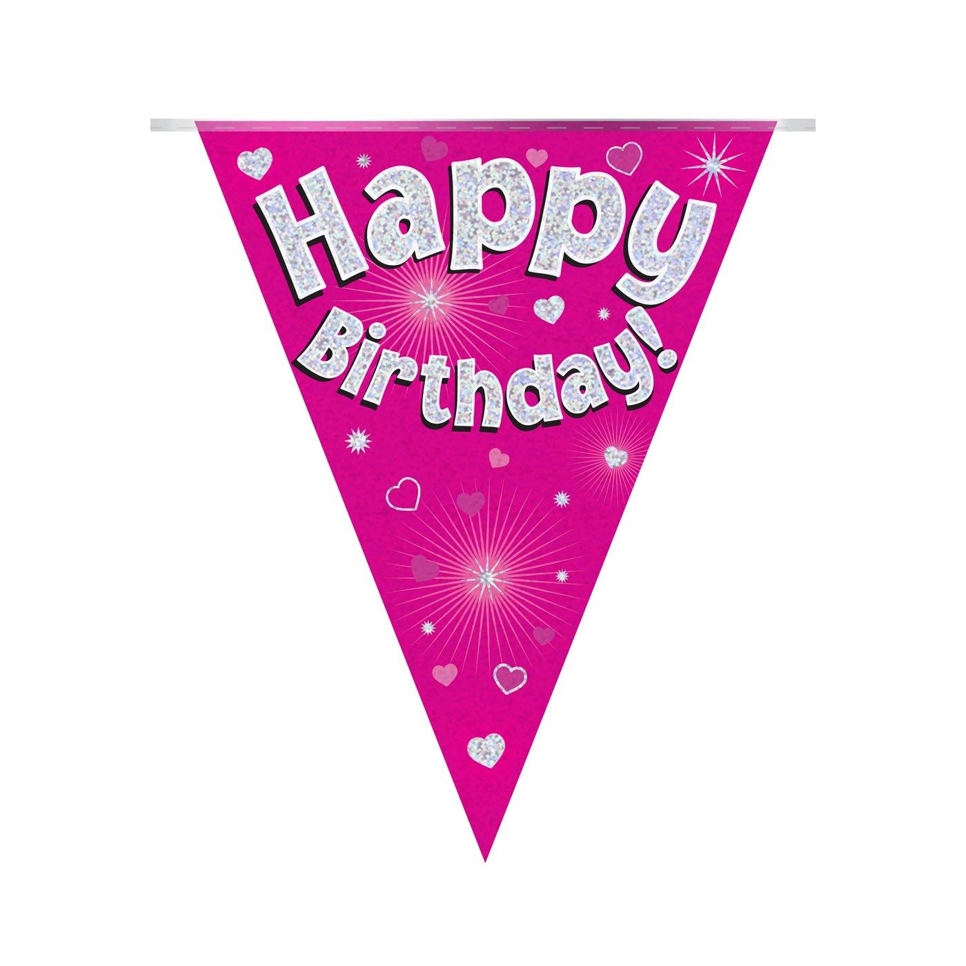 Pink Bunting Happy Birthday